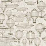 Uitstekende hete luchtballons die in de hemel drijven In naadloze achtergrond, behang Zwart-wit in schaduwen van sepia Stock Afbeeldingen