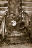 Uitstekende Hillbilly, Redneck, Banjospeler Royalty-vrije Stock Afbeelding