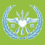Uitstekende Hipster Logo Angel Heart met Gekruiste Pijlenvector Stock Foto