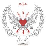 Uitstekende Hipster Logo Angel Heart met Gekruiste Pijlenvector Royalty-vrije Stock Foto