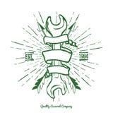 Uitstekende Hipster Logo Crossed Arrows en Moersleutel met Lintvector Royalty-vrije Stock Foto's