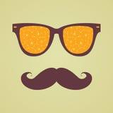 Uitstekende hipsterachtergrond. De sinaasappel van de zonnebrilbezinning vector illustratie