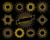 Uitstekende hipsterkaders met zonnestraal en lichte straalelementen vector illustratie