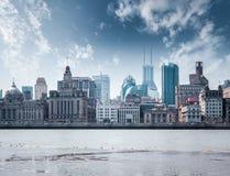 Uitstekende historische gebouwen in Shanghai dijk Royalty-vrije Stock Afbeeldingen