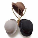 Uitstekende Hoedenhaak met Originele Bowlingspeler Derby Fedora Hat royalty-vrije stock foto's