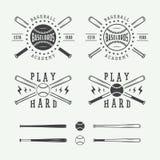 Uitstekende honkbalemblemen, emblemen, kentekens en ontwerpelementen Stock Afbeeldingen