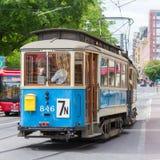 Uitstekende houten blauwe tram, Stockholm, Zweden, Europa Royalty-vrije Stock Afbeeldingen