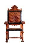 Uitstekende houten die stoel op witte het knippen weg wordt geïsoleerd Stock Foto