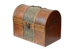 Uitstekende houten doos op wit Stock Afbeeldingen