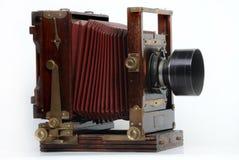 Uitstekende houten frame fotocamera Stock Afbeelding