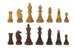 Uitstekende Houten Geïsoleerde Schaak Vastgestelde Stukken Royalty-vrije Stock Afbeeldingen