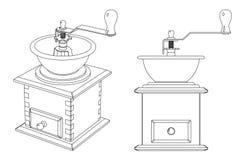 Uitstekende houten koffiemolen met een open kom, zwart-wit contourpatroon Vector Illustratie