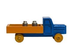 Uitstekende houten stuk speelgoed auto of vrachtwagen Stock Afbeeldingen