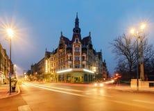 Uitstekende huizen op de straat in Gliwice, Polen royalty-vrije stock foto's