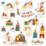 Uitstekende huizen. Reeks stickers van kinderen. Stock Afbeelding