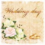Uitstekende huwelijkskaart Royalty-vrije Stock Afbeelding