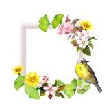 Uitstekende huwelijkskaart - bloemen en leuke vogel Waterverfkader voor sparen datumtekst royalty-vrije illustratie
