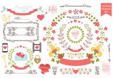 Uitstekende huwelijksreeks Bloemenkroon, pictogrammen, het wervelen Royalty-vrije Stock Afbeeldingen