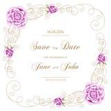 Uitstekende huwelijksuitnodiging met rozen vector illustratie