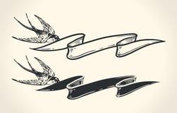 Uitstekende illustratie van het lint van de vogelholding Stock Afbeelding