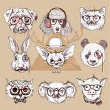 Uitstekende illustratie van hipsterdier die met glazen in vector wordt geplaatst Stock Foto