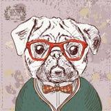 Uitstekende illustratie van hipsterpug hond Royalty-vrije Stock Foto