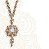 Uitstekende juwelen gouden tegenhanger met diamanten Royalty-vrije Stock Foto