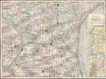 Uitstekende kaart 1891 van de stad van Philadelphia Stock Foto