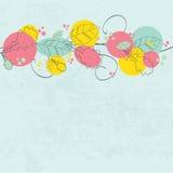 Uitstekende kaart met abstracte chrysantenbloemen Stock Afbeelding