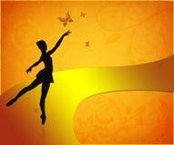 Uitstekende kaart met bevallige balletdanser Royalty-vrije Stock Afbeelding