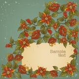 Uitstekende kaart met bloemen. Stock Foto's