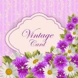 Uitstekende kaart met bloemen Royalty-vrije Stock Fotografie