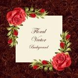 Uitstekende kaart met bloemen Stock Fotografie