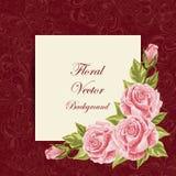 Uitstekende kaart met bloemen Royalty-vrije Stock Foto