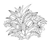 Uitstekende kaart met bloemen Vectorillustratie zentangl Meditatieve oefeningen Het kleuren boek antispanning vector illustratie
