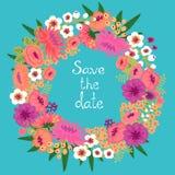 Uitstekende kaart met bloemenkroon. Sparen de datum. Stock Fotografie