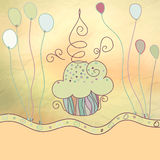 Uitstekende kaart met cupcake. + EPS8 Stock Afbeelding