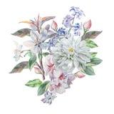 Uitstekende kaart met de lentebloemen watercolor Stock Afbeelding