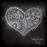Uitstekende kaart met hart voor Valentine-dag. Stock Afbeelding