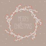 Uitstekende kaart met Kerstmiskroon Stock Afbeelding