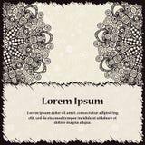 Uitstekende kaart met mandala Decoratieve hand-drawn achtergrond met plaats voor tekst Kan voor uitnodiging, banner, huwelijkskaa Stock Afbeelding