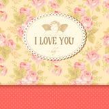 Uitstekende kaart met rozen Stock Fotografie