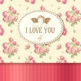 Uitstekende kaart met rozen Royalty-vrije Stock Afbeelding