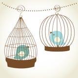 Uitstekende kaart met twee leuke vogels royalty-vrije illustratie