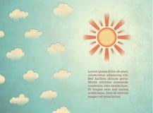 Uitstekende kaart met zon Stock Foto