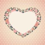 Uitstekende kaart Rozen in vorm van een hart Royalty-vrije Stock Afbeelding