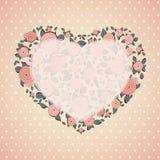 Uitstekende kaart Rozen in vorm van een hart Royalty-vrije Stock Foto's