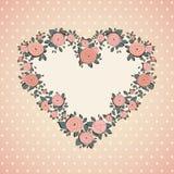 Uitstekende kaart Rozen in vorm van een hart Stock Afbeeldingen