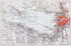Uitstekende kaart van de omgeving van Heilige Petersburg bij Th Royalty-vrije Stock Fotografie