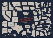 Uitstekende kaart van de Verenigde Staten van Amerika Stock Afbeeldingen
